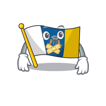 Flag canary island Scroll mascot cartoon character design on silent gesture. Vector illustration