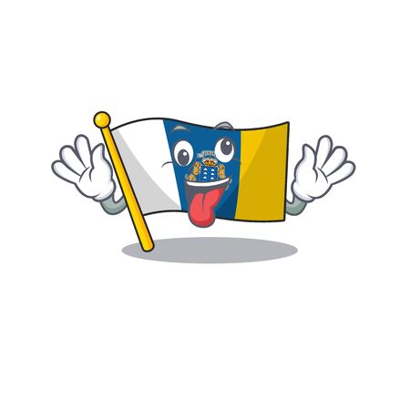Mascot of crazy face flag canary island Scroll Cartoon character style. Vector illustration