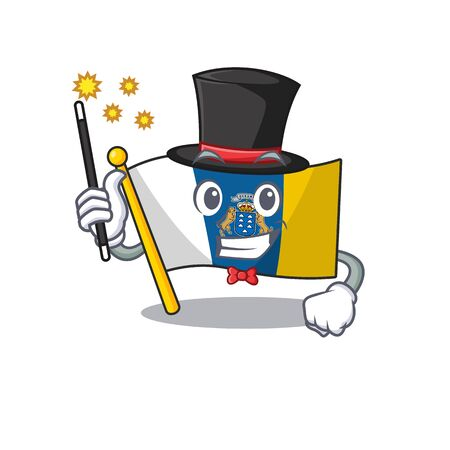 Mascot of flag canary island Scroll performance as a Magician style. Vector illustration