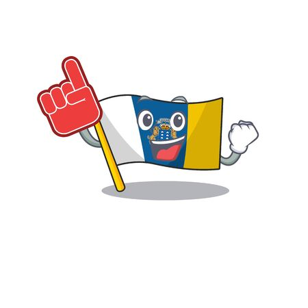 Flag canary island Scroll mascot cartoon style with Foam finger. Vector illustration Illustration