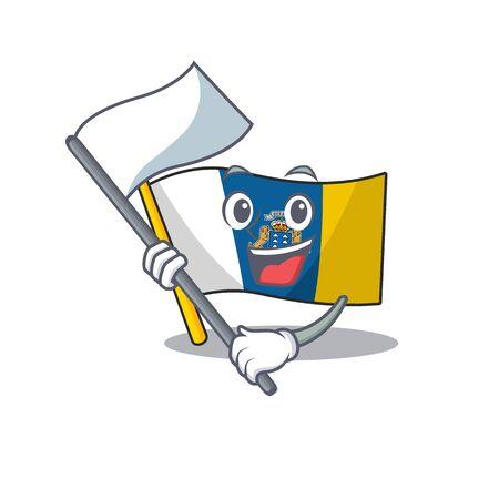 Linda bandera canarias estilo de personaje de dibujos animados de desplazamiento con bandera de pie. Ilustración vectorial