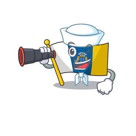 happy Sailor flag canary island Scroll cartoon design with binocular. Vector illustration Ilustración de vector