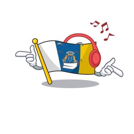 Listening music flag canary island Scroll mascot cartoon character design. Vector illustration
