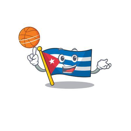 An icon of flag cuba Scroll cartoon character playing basketball. Vector illustration
