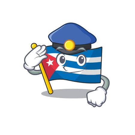 Flag cuba Scroll Cartoon mascot style as a Police officer. Vector illustration Stock Illustratie