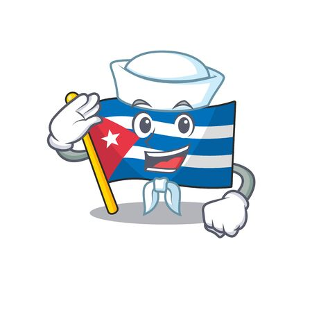 An icon of flag cuba Scroll Sailor cartoon character wearing hat. Vector illustration