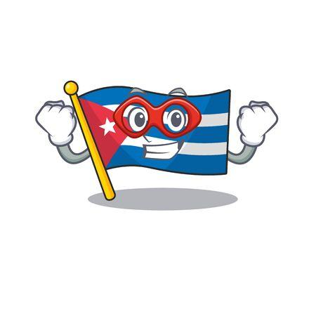 A picture of flag cuba Scroll dressed as a Super hero. Vector illustration Ilustração