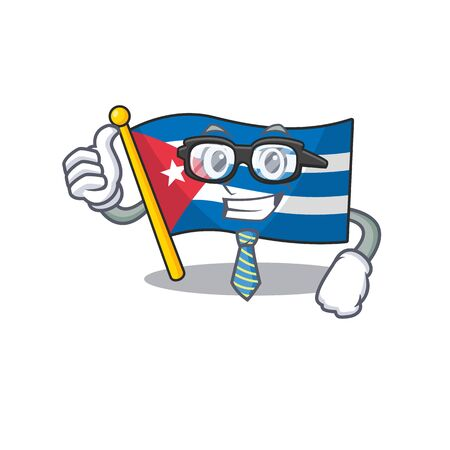 Cool Businessman flag cuba Scroll cartoon character with glasses. Vector illustration