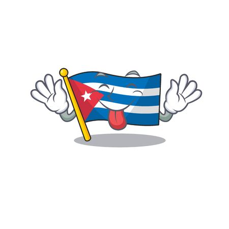 Funny face flag cuba Scroll mascot design with Tongue out. Vector illustration Иллюстрация
