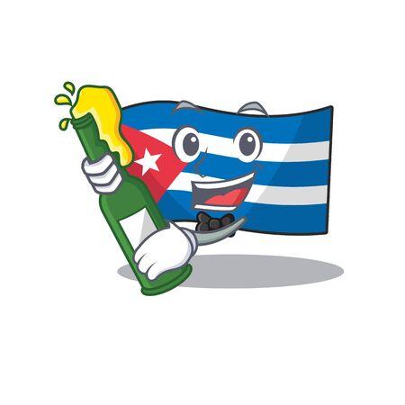Flag cuba Scroll with bottle of beer mascot cartoon style. Vector illustration Иллюстрация