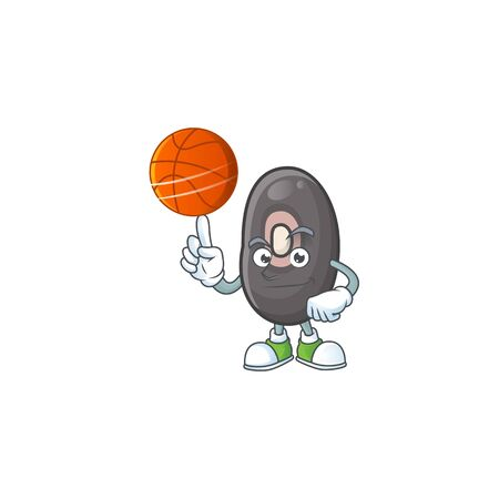 Happy face black beans cartoon character playing basketball. Vector illustration  イラスト・ベクター素材