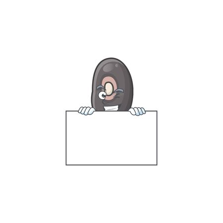 Grinning black beans cartoon character style hides behind a board. Vector illustration