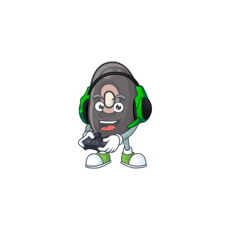 mascot icon of black beans with headphone and controller. Vector illustration  イラスト・ベクター素材