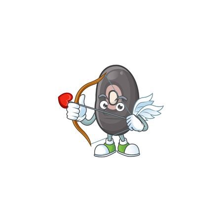 cartoon character of black beans Cupid having arrow and wings