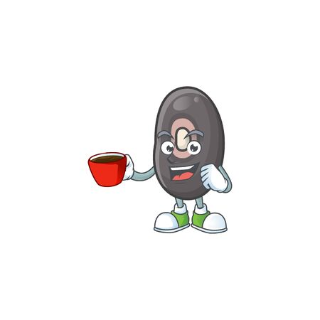 Picture of black beans character with a cup of coffee. Vector illustration