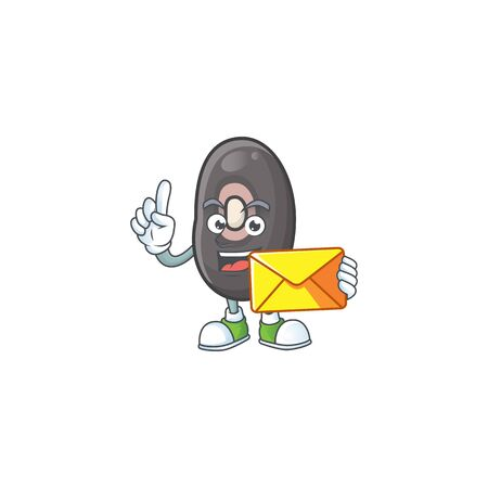 Cheerful black beans mascot cartoon with envelope. Vector illustration