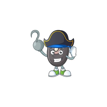 one hand Pirate black beans cartoon character wearing hat  イラスト・ベクター素材