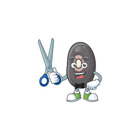 Smiley barber black beans mascot cartoon character design. Vector illustration  イラスト・ベクター素材