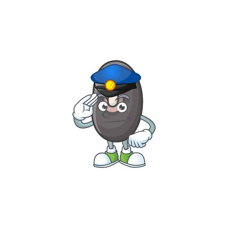 Black beans Cartoon in character a Police officer costume. Vector illustration