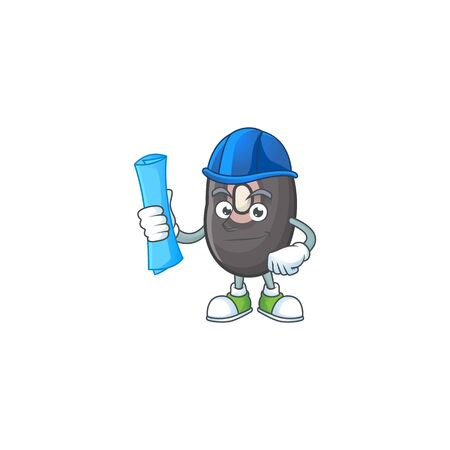 Cheerful Architect black beans cartoon character having blue prints. Vector illustration  イラスト・ベクター素材