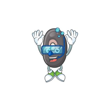 Funny black beans mascot design with Diving glasses. Vector illustration