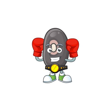 Funny Face Boxing black beans cartoon character design. Vector illustration