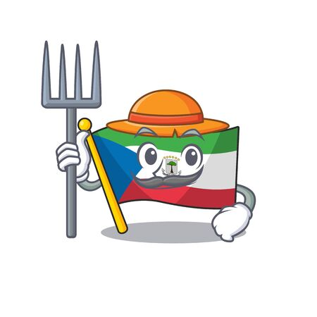 Happy Farmer flag equatorial guinea Scroll cartoon character with hat and tools. Vector illustration 向量圖像