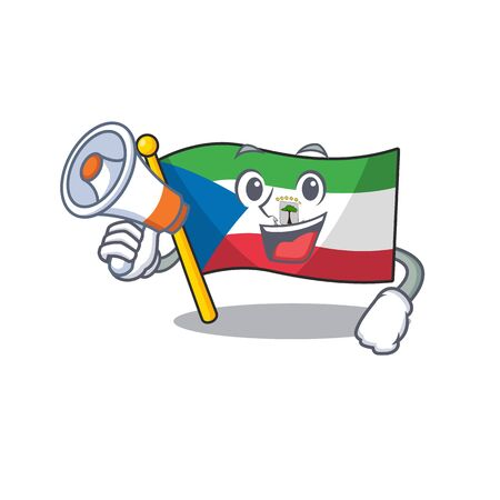 a Picture of flag equatorial guinea Scroll holding a megaphone. Vector illustration