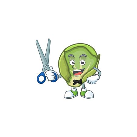 Smiley barber brussels sprouts mascot cartoon character design. Vector illustration
