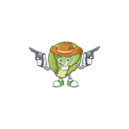 Smiling brussels sprouts mascot icon as a Cowboy holding guns Stock Illustratie