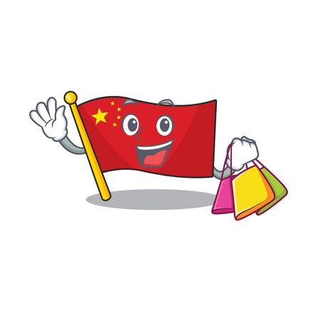 Faccia felice bandiera Cina Scroll stile mascotte agitando e tenendo la borsa della spesa. Illustrazione vettoriale Vettoriali