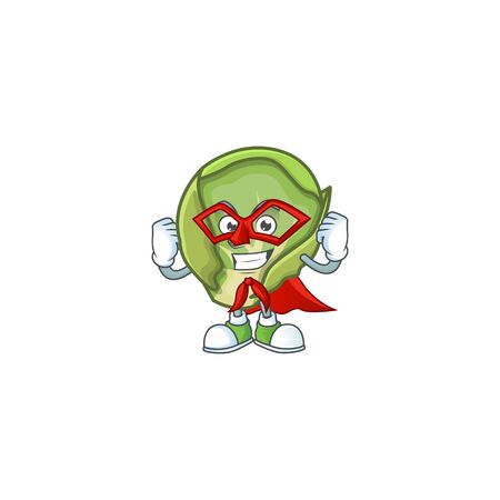 A cartoon of brussels sprouts with Super hero costume