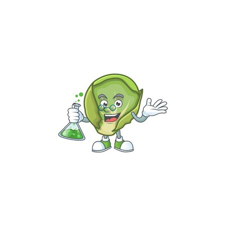Smart brussels sprouts cartoon character holding glass tube. Vector illustration
