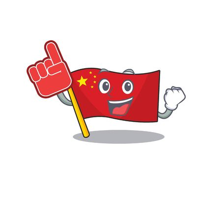 Flag china Scroll mascot cartoon style with Foam finger. Vector illustration