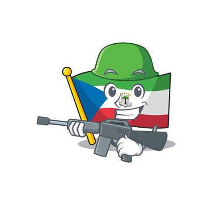 A mascot of flag equatorial guinea Scroll Army with machine gun. Vector illustration 向量圖像
