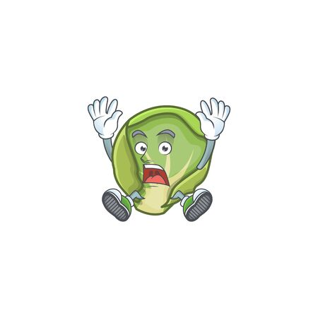 Cartoon character of brussels sprouts style with shocking gesture. Vector illustration
