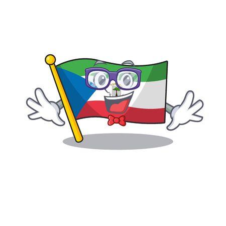 Super Funny Geek flag equatorial guinea Scroll cartoon character design. Vector illustration