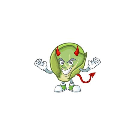 Picture of brussels sprouts as a Devil cartoon mascot. Vector illustration