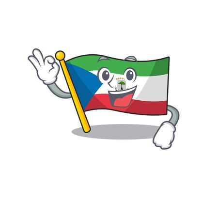 Flag equatorial guinea Scroll mascot design making an Okay gesture. Vector illustration