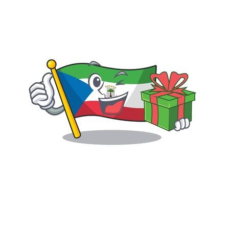happy face flag equatorial guinea Scroll character with gift box. Vector illustration 向量圖像