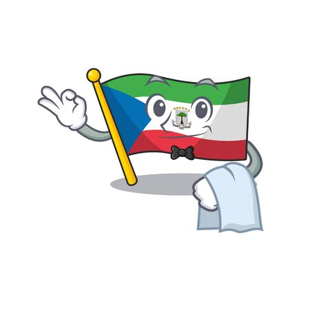 Cute flag equatorial guinea Scroll Character stand as a Waiter look. Vector illustration