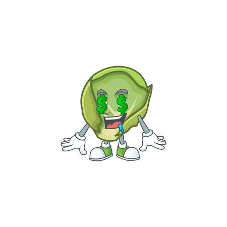 Cute brussels sprouts with Money eye cartoon character design Stock Illustratie