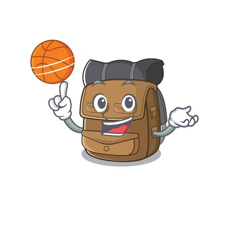 An icon of hiking backpack Scroll cartoon character playing basketball. Vector illustration