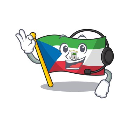 cute flag equatorial guinea Scroll cartoon character design wearing headphone. Vector illustration