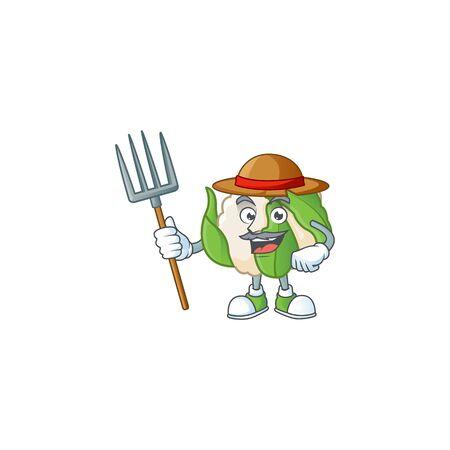 Mascotte de dessin animé de chou-fleur Happy Farmer avec chapeau et outils. Illustration vectorielle Vecteurs