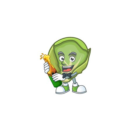 Happy brussels sprouts with beer cartoon character design. Vector illustration