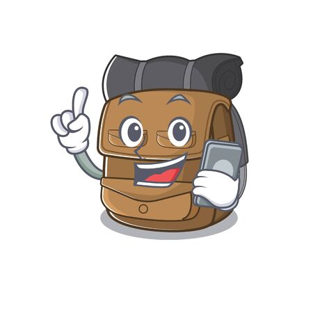 cartoon character of hiking backpack Scroll speaking with phone. Vector illustration