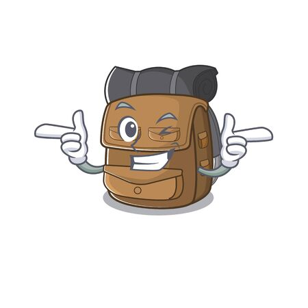 Hiking backpack Scroll mascot cartoon design with Wink eye. Vector illustration