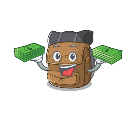 Very happy hiking backpack Scroll character with money on hands. Vector illustration Vecteurs
