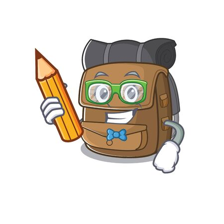 Cool smart Student hiking backpack Scroll character holding pencil. Vector illustration